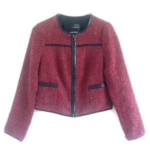 The Limited Blazer Jacket Tweed Red Size XS
